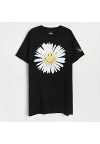 Reserved - Bawełniana koszula nocna Smiley® - Czarny. Kolor: czarny. Materiał: bawełna