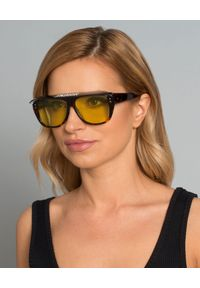 DIOR - Okulary Dior Club 2. Kolor: brązowy. Materiał: materiał. Wzór: aplikacja