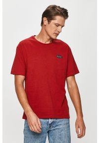 Czerwony t-shirt Pepe Jeans z okrągłym kołnierzem, z nadrukiem