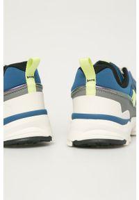 Turkusowe sneakersy Puma z okrągłym noskiem, na sznurówki, z cholewką