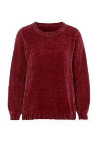 Czerwony sweter Cellbes w kolorowe wzory, do pracy, z klasycznym kołnierzykiem, wizytowy