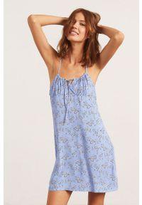 Etam - Koszula nocna Bambo. Kolor: niebieski. Materiał: tkanina
