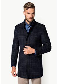 Płaszcz Lancerto na jesień, klasyczny, ze stójką, w kratkę