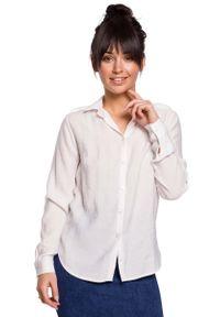 MOE - Biała Klasyczna Koszula z Pagonami. Kolor: biały. Materiał: poliamid, wiskoza. Styl: klasyczny