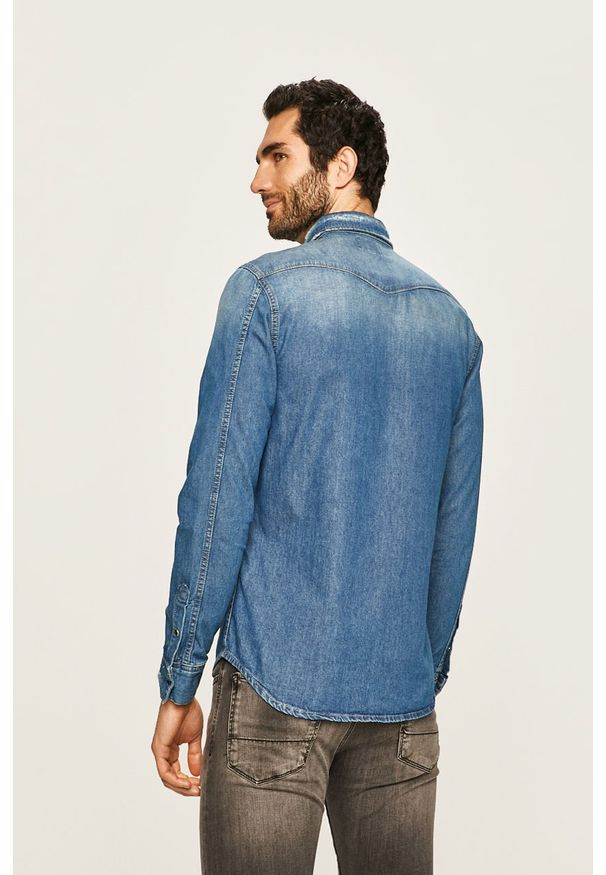 Niebieska koszula Pepe Jeans na co dzień, casualowa, z klasycznym kołnierzykiem