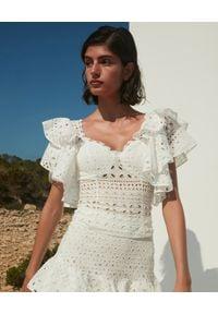 CHARO RUIZ IBIZA - Biały koronkowy top Belle. Kolor: biały. Materiał: koronka. Wzór: ażurowy. Sezon: lato