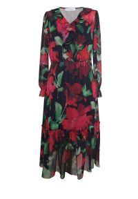 Czerwona sukienka na wesele Vito Vergelis w kwiaty, midi
