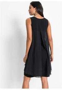 Sukienka z dżerseju i szyfonu bonprix czarny. Kolor: czarny. Materiał: szyfon, jersey. Styl: elegancki
