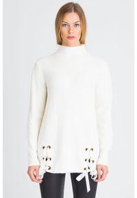 Biały sweter Trussardi Jeans z długim rękawem, krótki