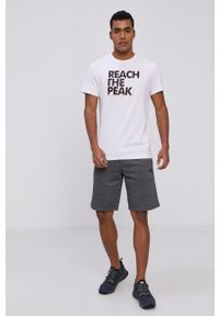 4f - 4F - T-shirt. Okazja: na co dzień. Kolor: biały. Materiał: dzianina. Wzór: nadruk. Styl: casual