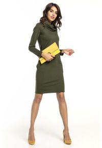 Tessita - Zielona Krótka Bawełniana Sukienka z Kominem. Typ kołnierza: komin. Kolor: zielony. Materiał: bawełna. Długość: mini