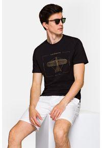 Lancerto - Koszulka Ciemnogranatowa Rory. Okazja: na co dzień. Kolor: niebieski. Materiał: włókno, materiał, bawełna. Wzór: aplikacja, nadruk. Styl: klasyczny, casual, retro