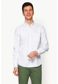 Biała koszula casual Lancerto button down, w kwiaty
