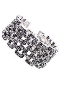 Braccatta - ELSA Srebrna bransoletka szeroka ażurowa markazyty. Materiał: srebrne. Kolor: srebrny. Wzór: ażurowy. Kamień szlachetny: markazyt