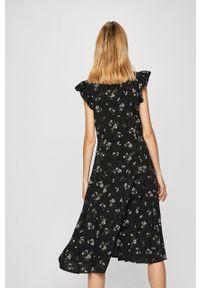 Czarna sukienka medicine midi, prosta, boho, w kwiaty