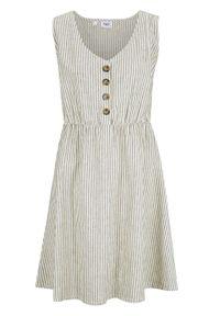 Sukienka lniana z plisą guzikową bonprix biel wełny - oliwkowy w paski. Typ kołnierza: dekolt w serek. Kolor: biały. Materiał: len, wełna. Długość rękawa: bez rękawów. Wzór: paski
