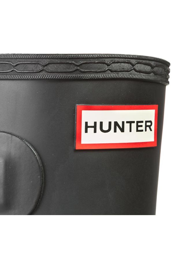Czarne kalosze Hunter z aplikacjami, z cholewką