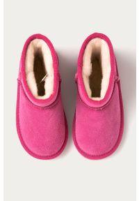 Różowe buty zimowe EMU Australia z okrągłym noskiem, na zimę, z cholewką