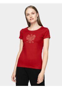 4f - Koszulka kibica damska. Kolor: czerwony. Materiał: bawełna, jersey, dzianina. Wzór: geometria, nadruk