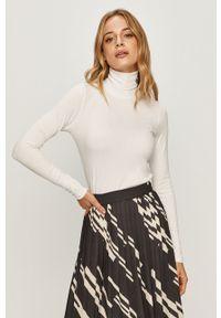 Biały sweter Calvin Klein Jeans z długim rękawem, z golfem