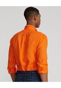 Ralph Lauren - RALPH LAUREN - Pomarańczowa koszula z lnu Slim Fit. Typ kołnierza: button down, polo. Kolor: pomarańczowy. Materiał: len. Długość rękawa: długi rękaw. Długość: długie. Wzór: haft #5
