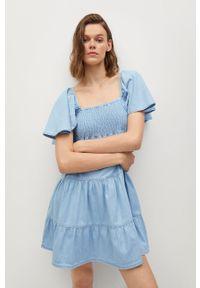 mango - Mango - Sukienka DULIPA. Kolor: niebieski. Materiał: materiał, bawełna. Typ sukienki: rozkloszowane