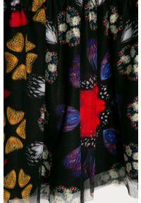 Czarna sukienka Desigual mini, rozkloszowana, z długim rękawem