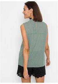 Bluzka bez rękawów z koronką bonprix zieleń morska. Kolor: zielony. Materiał: koronka. Długość rękawa: bez rękawów. Wzór: koronka