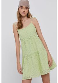 TALLY WEIJL - Tally Weijl - Sukienka. Kolor: zielony. Materiał: tkanina. Długość rękawa: na ramiączkach. Wzór: gładki. Typ sukienki: rozkloszowane