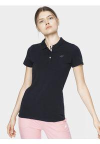 4f - Koszulka polo damska. Okazja: na co dzień. Typ kołnierza: polo. Kolor: niebieski. Materiał: bawełna, jersey, dzianina, materiał. Styl: casual