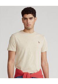 Ralph Lauren - RALPH LAUREN - Męski t-shirt z logo Custom Slim Fit. Typ kołnierza: polo. Kolor: beżowy. Materiał: bawełna. Wzór: haft, melanż