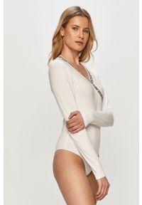 Biała bluzka z długim rękawem Calvin Klein Jeans gładkie, casualowa