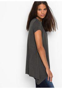 Shirt z dłuższymi bokami bonprix ciemnoszary. Kolor: szary. Długość rękawa: krótki rękaw. Długość: długie