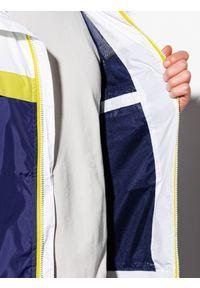 Biała kurtka Ombre Clothing na wiosnę, z nadrukiem, z kapturem