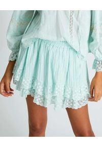 LOVE SHACK FANCY - Niebieska spódnica Toya. Kolor: niebieski. Materiał: bawełna, koronka. Wzór: kropki, koronka, haft