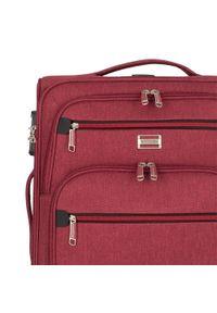 Wittchen - Duża miękka walizka z czerwonym suwakiem. Kolor: czerwony. Materiał: poliester