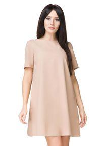 Tessita - Beżowa Sukienka o Kształcie litery A. Kolor: beżowy. Materiał: poliester, elastan