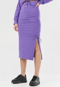 Born2be - Fioletowa Spódnica Zaehlienne. Kolor: fioletowy. Materiał: dzianina, materiał. Wzór: gładki