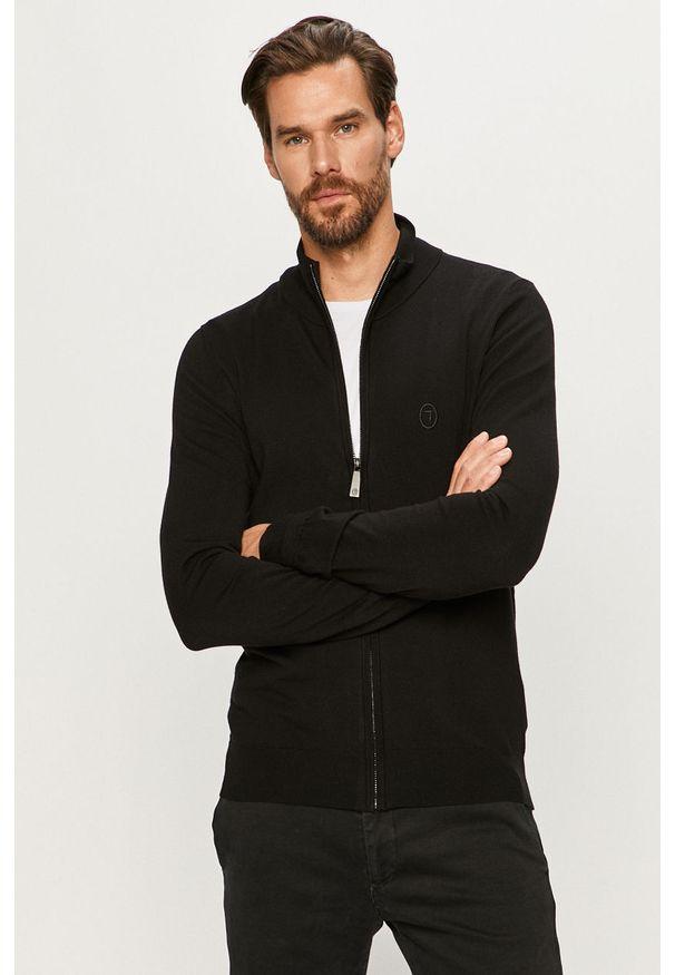 Czarny sweter rozpinany Trussardi Jeans z włoskim kołnierzykiem