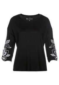 Shirt z przyjaznej dla środowiska wiskozy bonprix czarno-biel wełny. Kolor: czarny. Materiał: wełna, wiskoza. Wzór: haft
