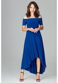 Lenitif - Asymetryczna sukienka z odkrytymi ramionami szafirowa. Kolor: niebieski. Materiał: tkanina. Wzór: gładki. Typ sukienki: asymetryczne, z odkrytymi ramionami. Styl: elegancki