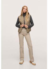 mango - Mango - Spodnie Catalina. Stan: podwyższony. Kolor: beżowy. Materiał: włókno