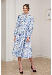 Marie Zélie - Sukienka Colette Civitas. Materiał: bawełna, skóra, materiał, elastan. Długość rękawa: długi rękaw. Typ sukienki: szmizjerki. Styl: elegancki. Długość: midi