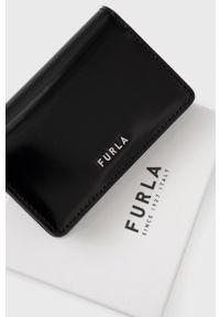 Furla - Etui na karty skórzane Splendida. Kolor: czarny. Materiał: skóra. Wzór: gładki
