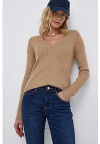 Vila - Sweter z domieszką wełny. Kolor: beżowy. Materiał: wełna. Długość rękawa: długi rękaw. Długość: długie