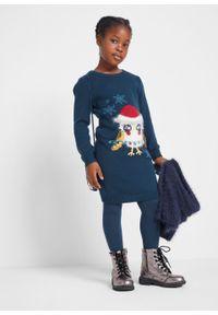Sukienka dziewczęca + torebka (2 części) bonprix ciemnoniebieski. Kolor: niebieski. Materiał: poliamid, materiał, bawełna, akryl. Wzór: aplikacja. Sezon: zima