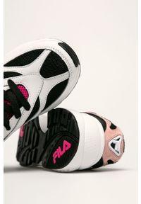 Białe buty sportowe Fila z okrągłym noskiem, z cholewką, na sznurówki