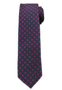 Ciemnogranatowy Elegancki Krawat -Angelo di Monti- 6 cm, Męski, W Czerwone Kwadraciki. Kolor: niebieski, czerwony, wielokolorowy. Wzór: geometria. Styl: elegancki