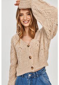 Beżowy sweter rozpinany Answear Lab z długim rękawem, długi, gładki, na co dzień