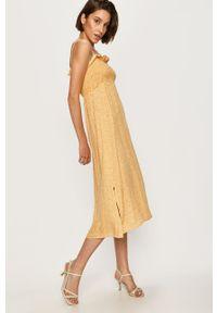Żółta sukienka ANSWEAR z dekoltem karo, na ramiączkach, w kwiaty, midi